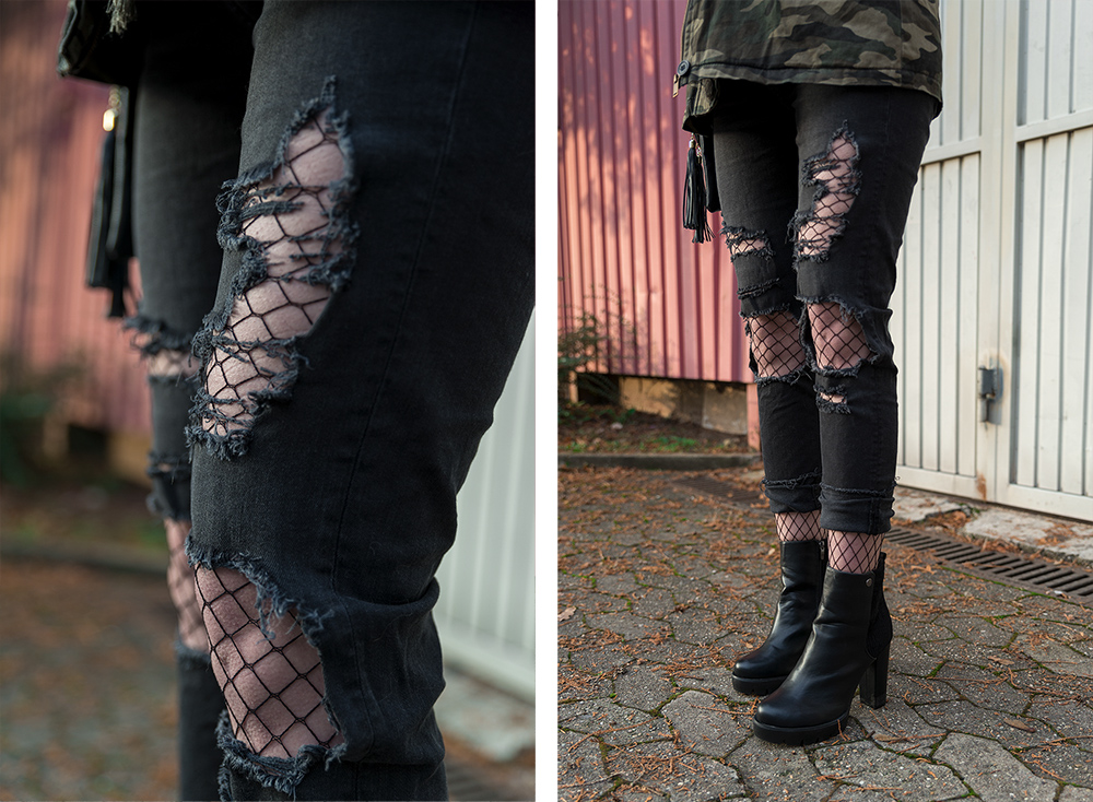 Outfit Ripped Jeans Fishnets Camo Jacke