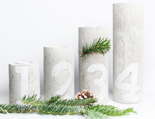 andysparkles-Beton DIY-moderner Weihnachtskrank-Kerzenständer aus Beton