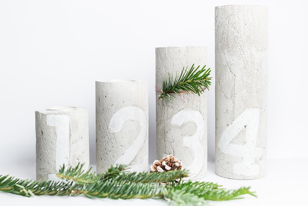 moderner weihnachtskranz diy kerzenst nder aus beton. Black Bedroom Furniture Sets. Home Design Ideas