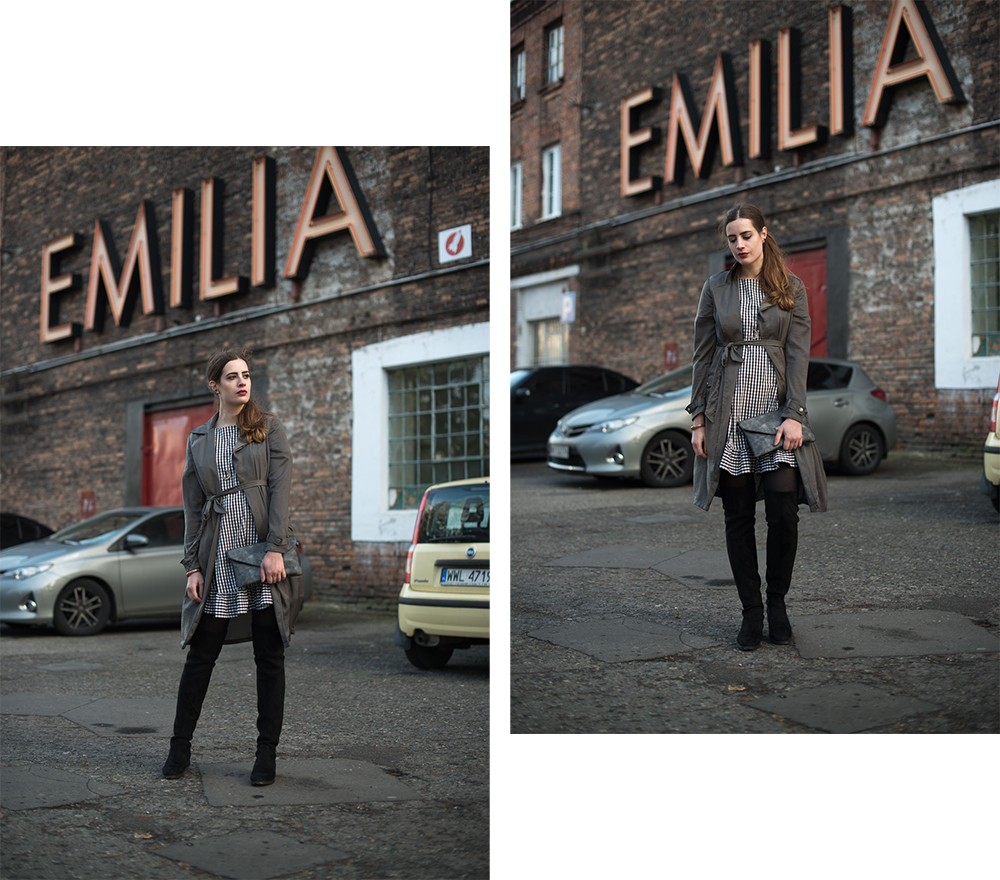 Modebloggerin Andrea Funk beim Besuch in Warschau, Trend Overkneestiefel
