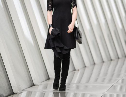 Schwarzes Kleid mit Spitze-Overknees-Stiefel-Modeblog Berlin-Abendlook-andysparkles.de