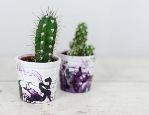 Marmorieren mit Nagellack-Blumentopf DIY-DIY Idee-andysparkles