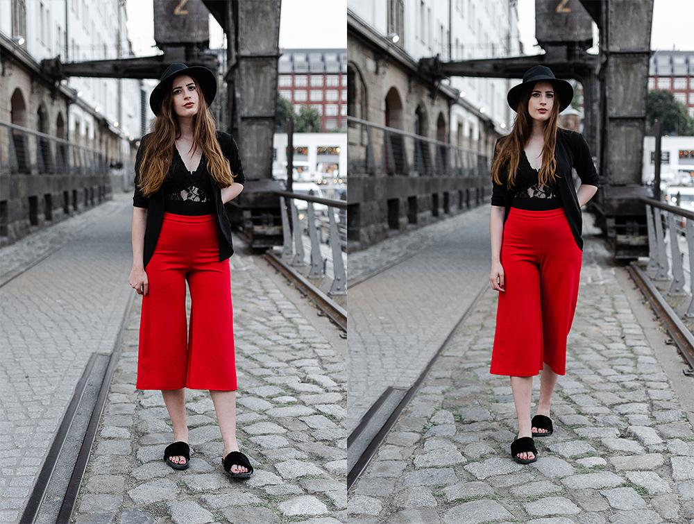 Rote Hose mit schwarzem Lace Body-Outfit mit Body-Body kombinieren-tempelhofes Hafen Berlin-Modeblogger Berlin-andysparkles