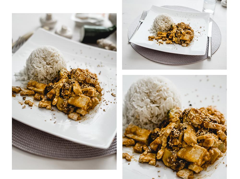 Gesund und vegetarisch kochen-Erdnuss Gemüse Tofu Curry-Vegetarisches Reis Rezept-Foodblog-andysparkles