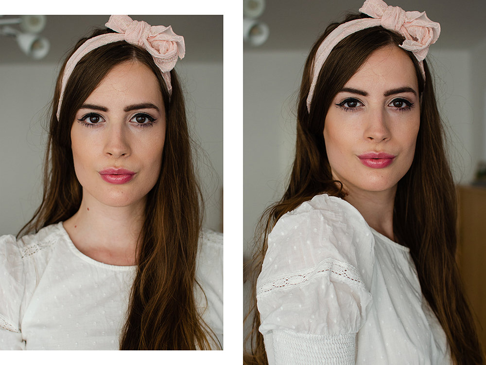 Tages Make-Up mit Highlighter-Laura Geller-Loreal Paris Lip Scrub-Tinted Lip Oil-Beautyblog-andysparkles