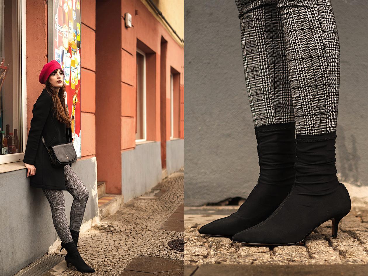 Sock Boots kombinieren-wie trage ich Sock Boots-Winteroutfit mit Stiefeletten-Baskenmütze zum Winteroutfit-Modeblog Berlin-andysparkles