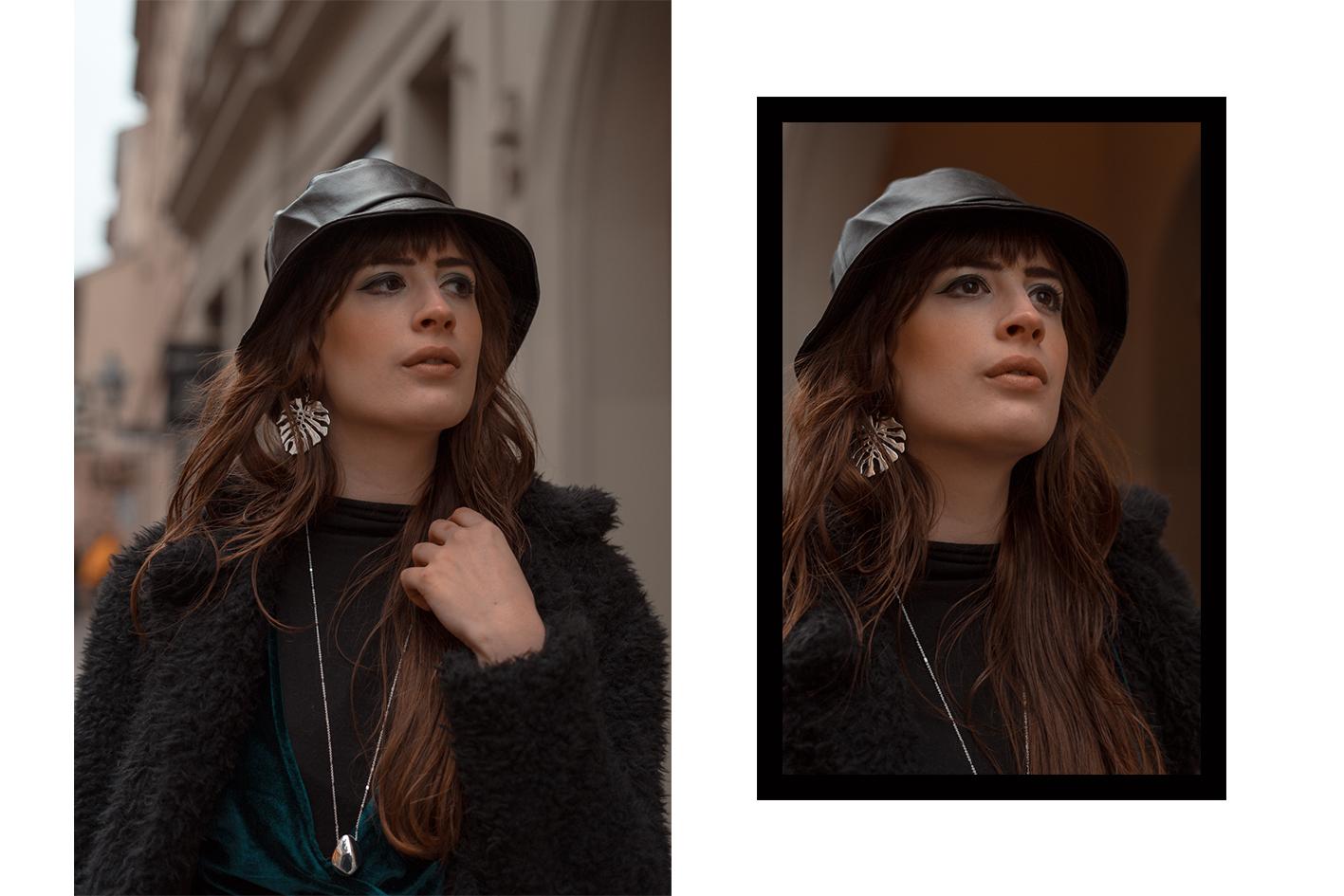 Leder Fischerhut mit Samtkleid-Pinafore Samt Kleid-Winteroutfit 2019-Modeblog Berlin-andysparkles