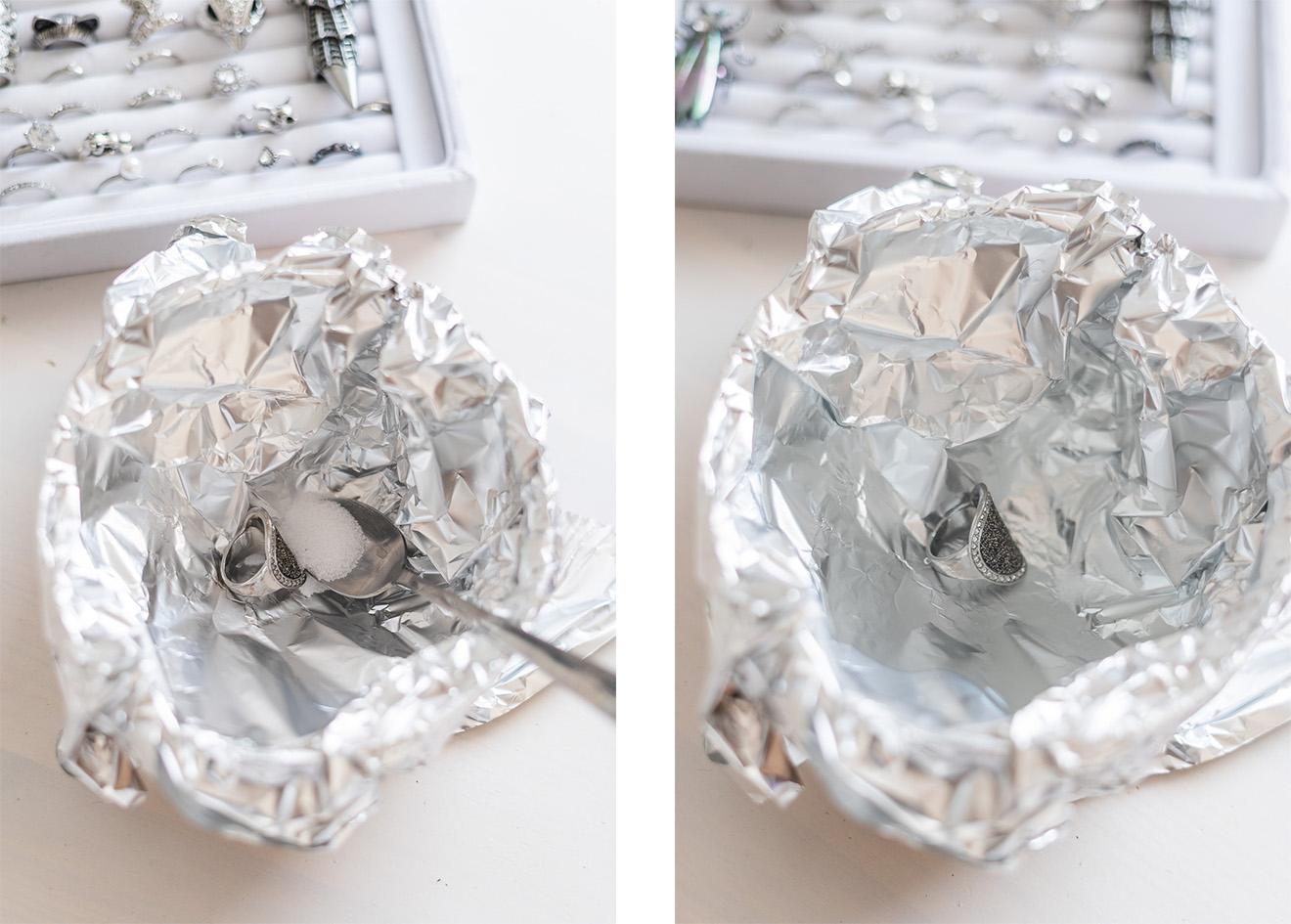 Silberschmuck mit Salz und Alufolie reinigen