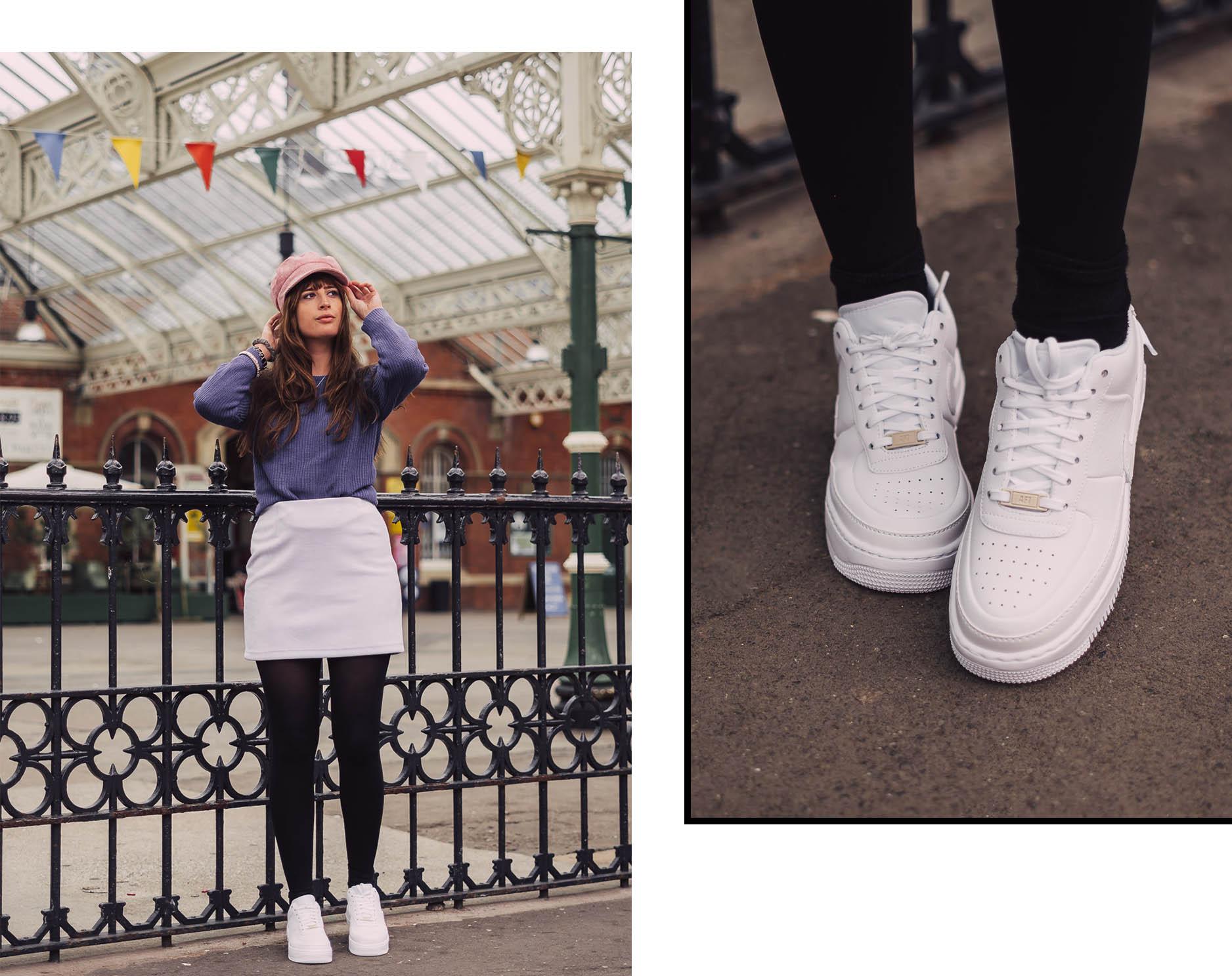 Weiße Sneaker im Winter