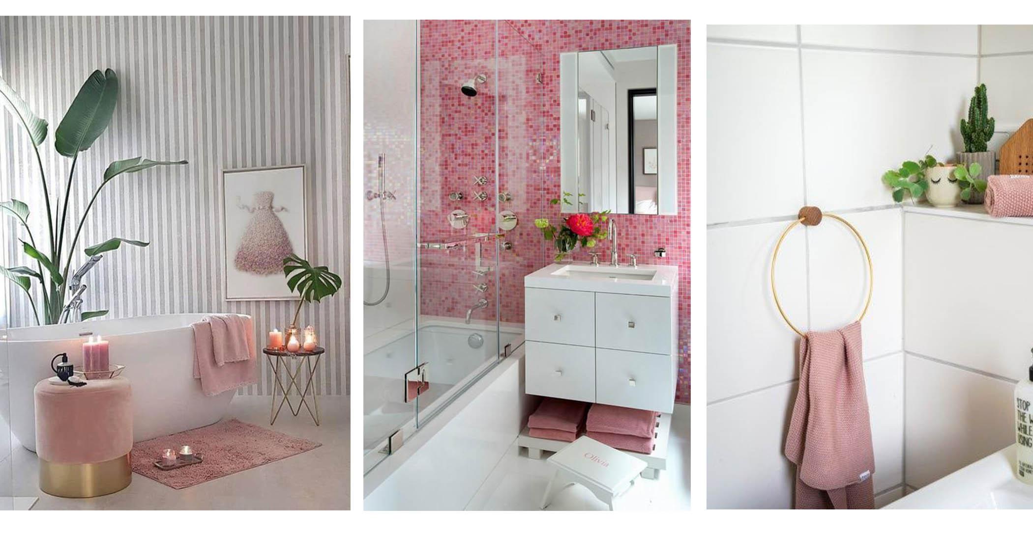 Rosa Deko im Badezimmer zum Badmöbel Set