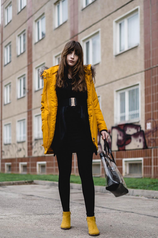 Outfit mit gelben Boots