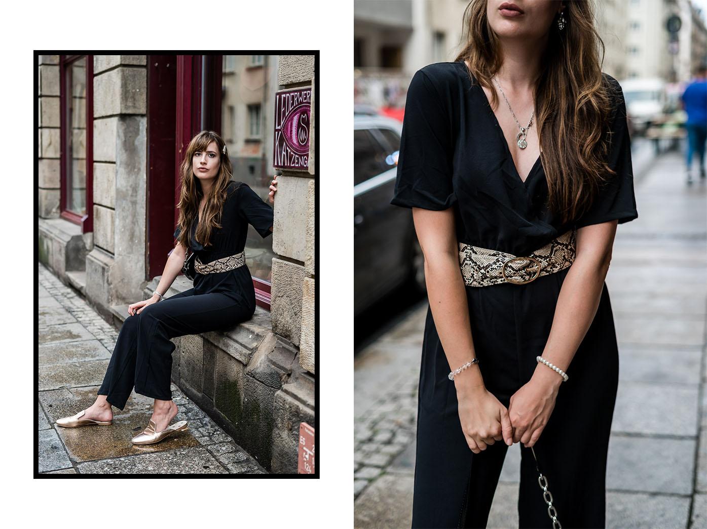 Outfit mit schwarzem Jumpsuit