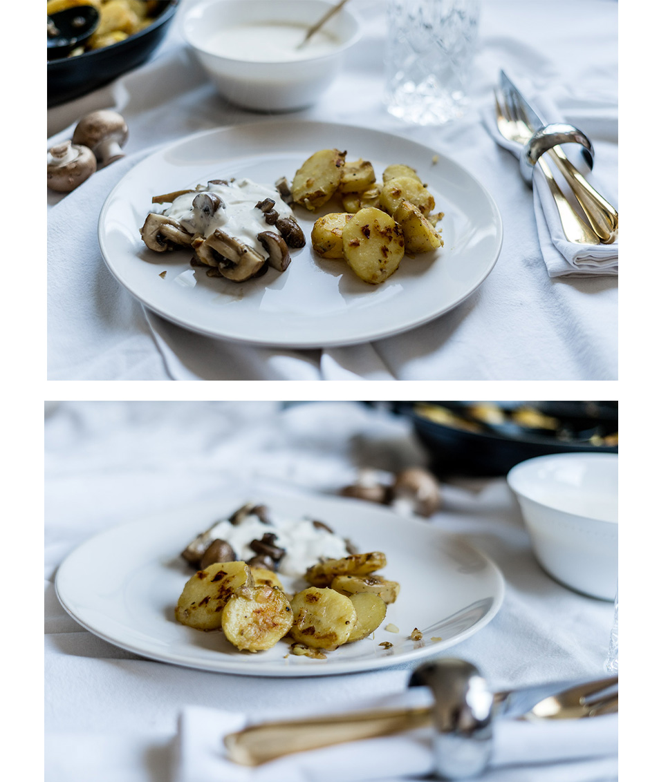 Rezept: Champignonpfanne mit Knobi-Sauce