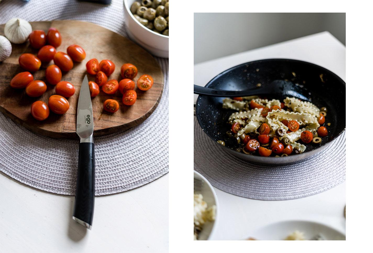 Knoblauch Pasta mit Tomaten und Oliven